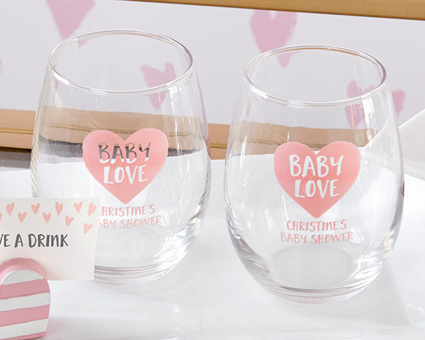 Personalized Baby Love 9 oz. Stemless Wine Glass