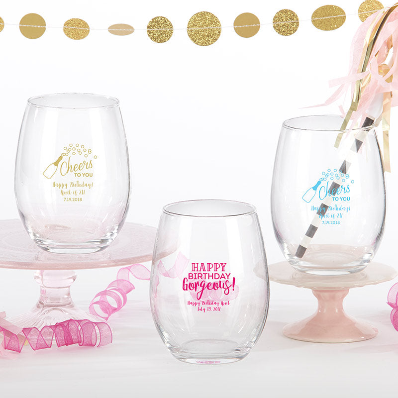 Personalized Birthday For Her 9 oz. Stemless Wine Glass