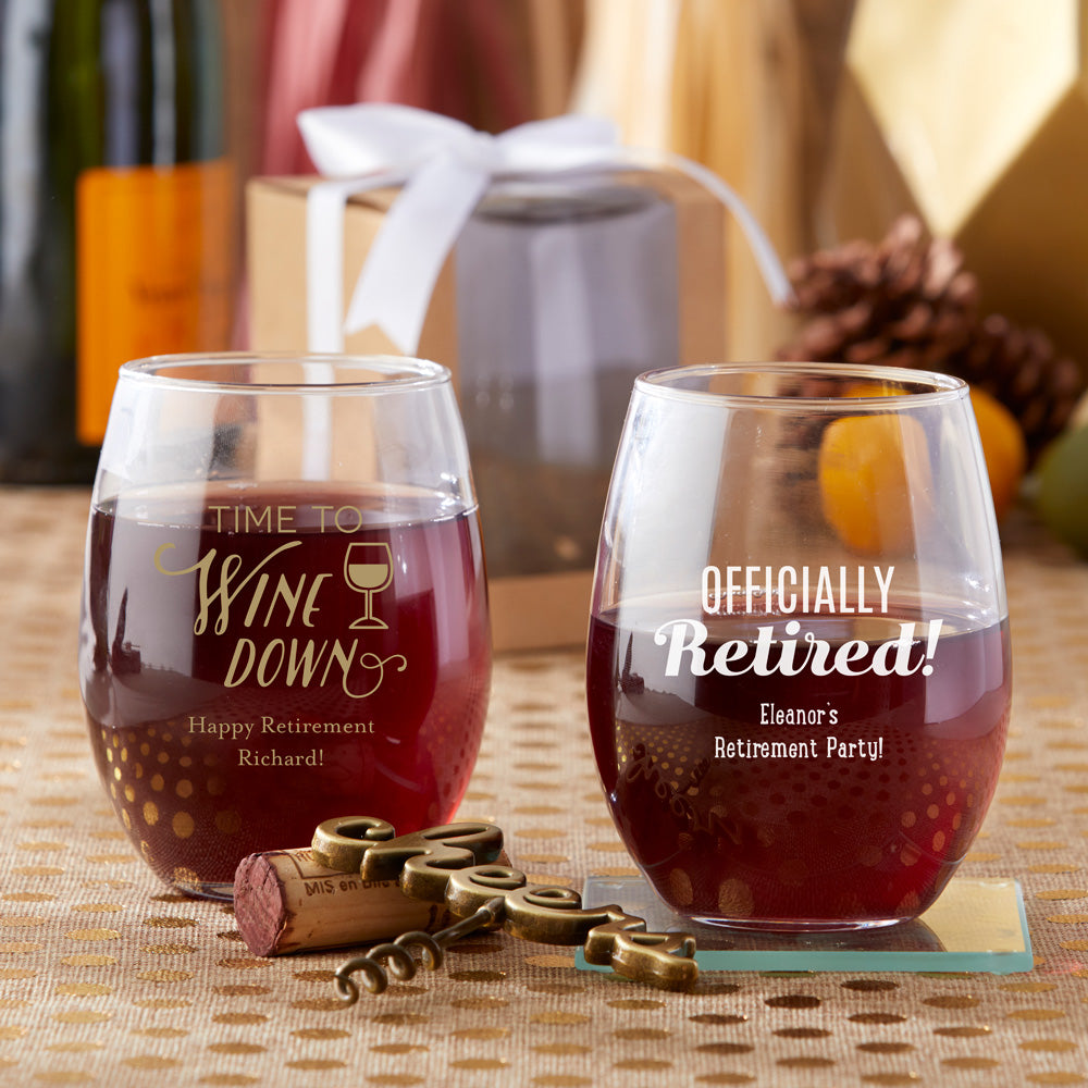 Personalized Celebration 9 oz. Stemless Wine Glass