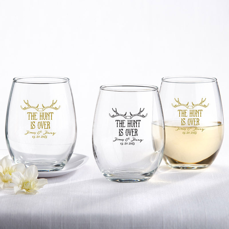 Personalized The Hunt Is Over 9 oz.  Stemless Wine Glass