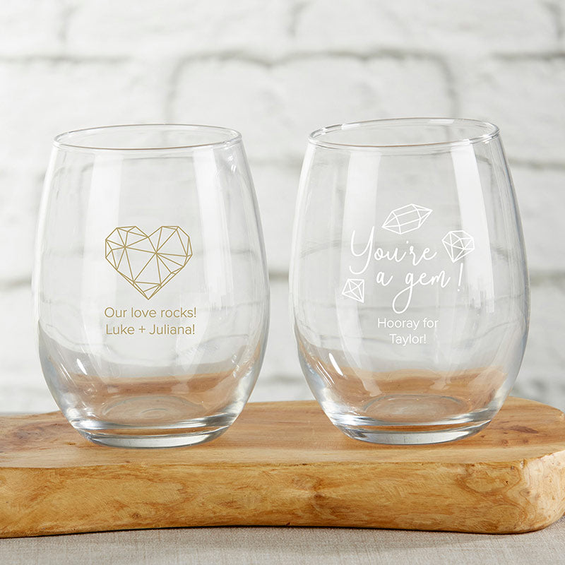 Personalized Elements 9 oz. Stemless Wine Glass