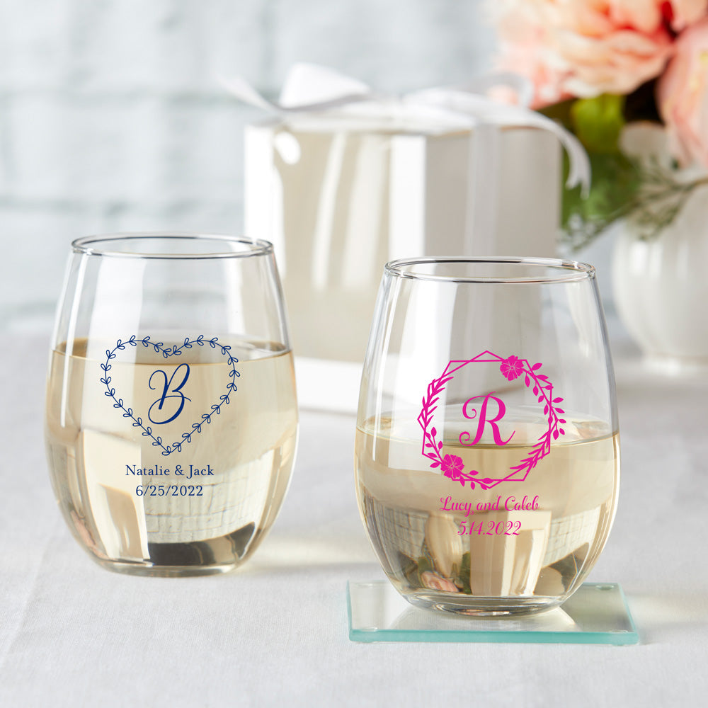Personalized Monogram 9 oz. Stemless Wine Glass