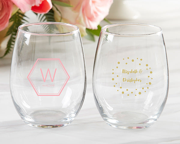 Personalized Modern Classic 9 oz. Stemless Wine Glass