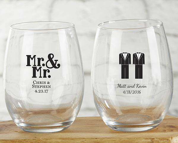 Personalized Mr. and Mr. 9 oz. Stemless Wine Glass