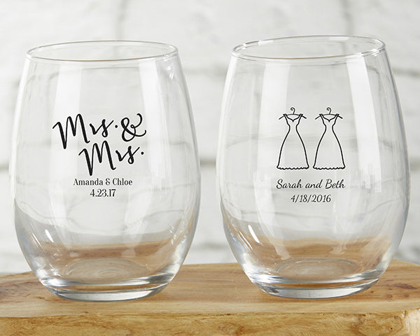 Personalized Mrs. and Mrs. 9 oz. Stemless Wine Glass