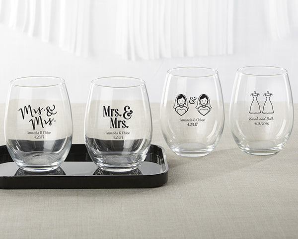 Personalized Mrs. & Mrs. 9 oz. Stemless Wine Glass