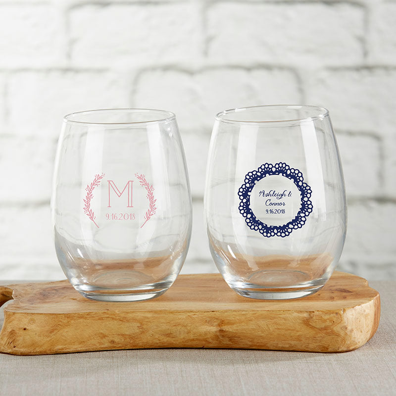 Personalized Rustic Charm Wedding 9 oz. Stemless Wine Glass