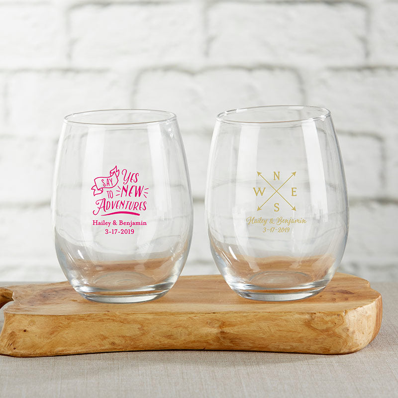 Personalized Travel & Adventure 9 oz. Stemless Wine Glass