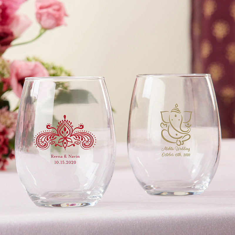 Personalized Indian Jewel 9 oz. Stemless Wine Glass