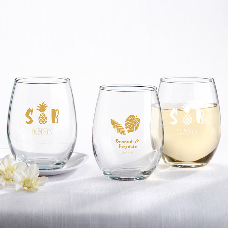 Personalized Pineapples & Palms 9 oz. Stemless Wine Glass