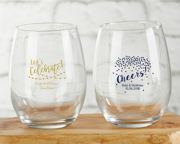Personalized Party Time 9 oz. Stemless Wine Glass