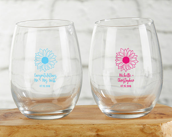 Personalized Sunflower 9 oz. Stemless Wine Glass