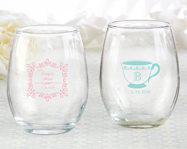Personalized Tea Time 9 oz. Stemless Wine Glass