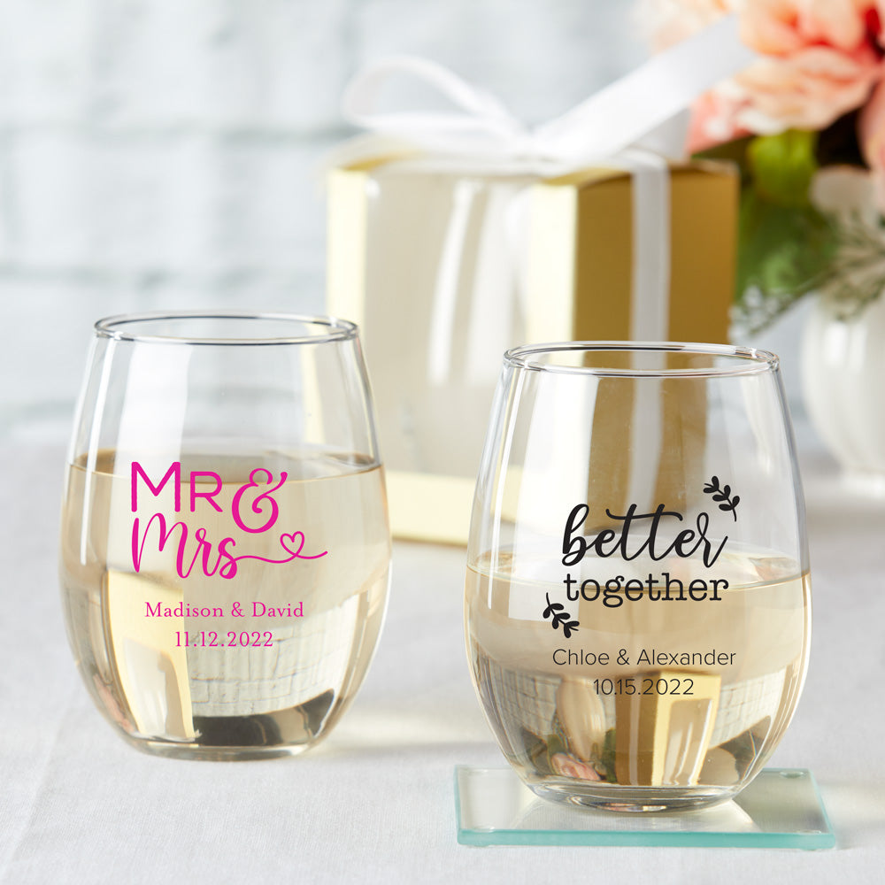 Personalized Wedding 9 Oz Stemless Wine Glass Gift Box Available Mwf