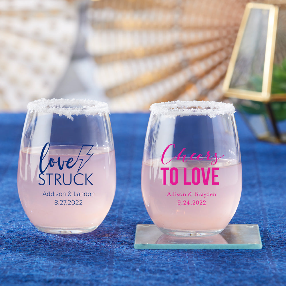 Personalized Wedding 9 oz. Stemless Wine Glass (Gift Box Available)