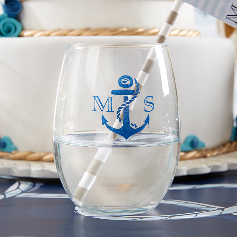 Personalized Nautical Wedding 9 oz. Stemless Wine Glass