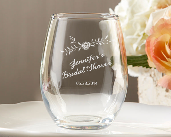 Personalized Rustic Bridal Shower 9 oz. Stemless Wine Glass