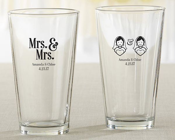 Personalized Mrs. & Mrs. 16 oz. Pint Glass