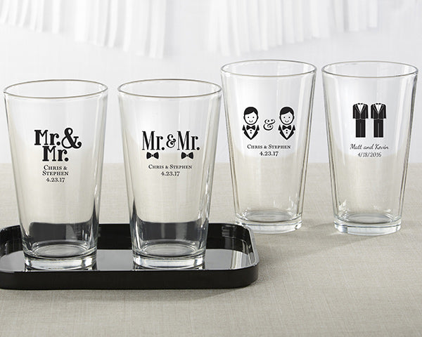 Personalized Mr. and Mr. 16 oz. Pint Glass