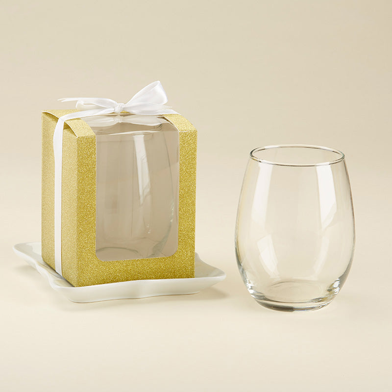 Gold 15 oz. Stemless Wine Glass Gift Box with Ribbon (Set of 12)