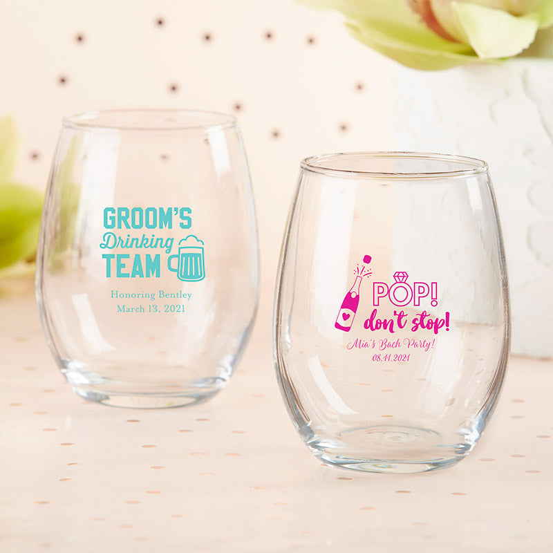 Personalized Bachelor & Bachelorette 15 oz. Stemless Wine Glass