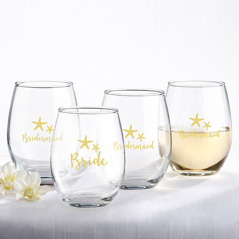 Bride & Bridesmaids Beach Tides 15 oz. Stemless Wine Glass (Set of 4)