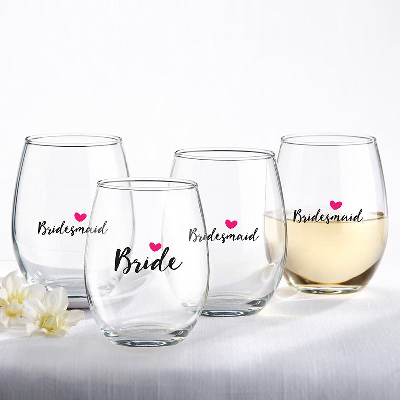 Bride & Bridesmaids Pink Heart 15 oz. Stemless Wine Glass (Set of 4)