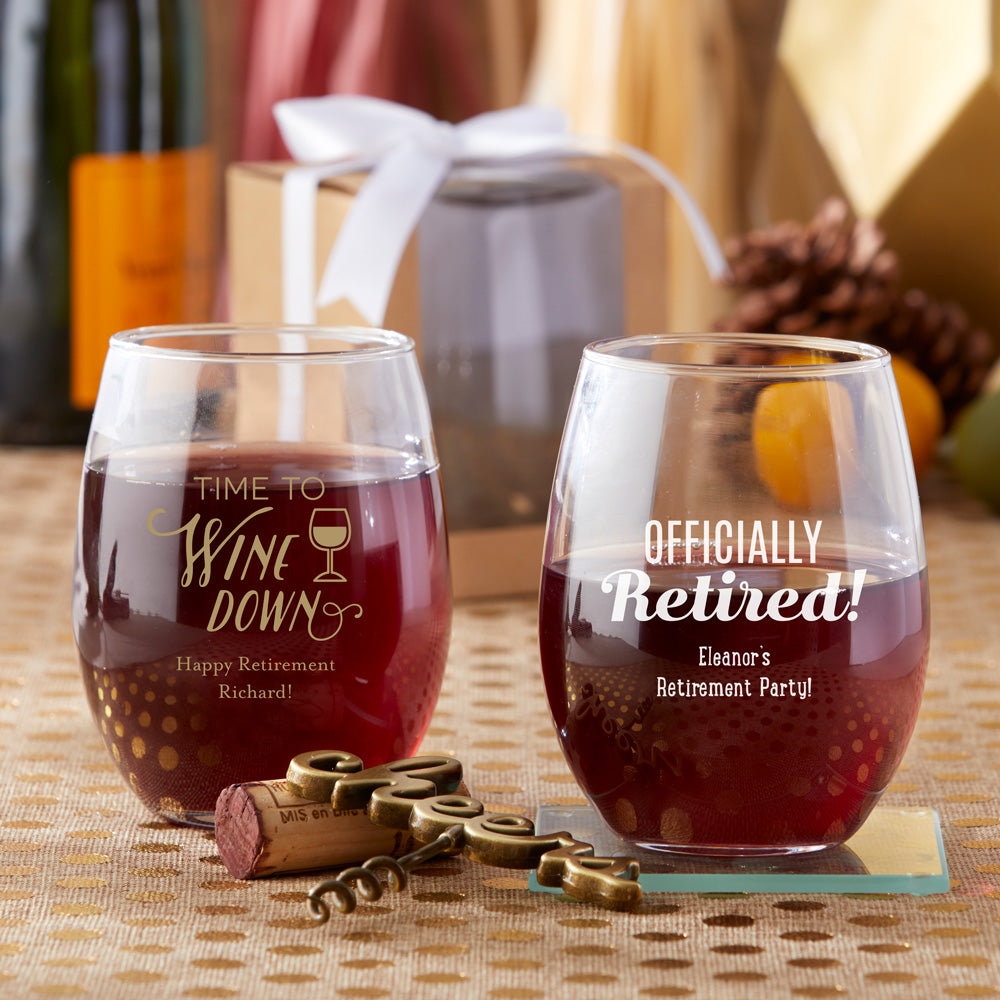 Personalized Celebration 15 oz. Stemless Wine Glass