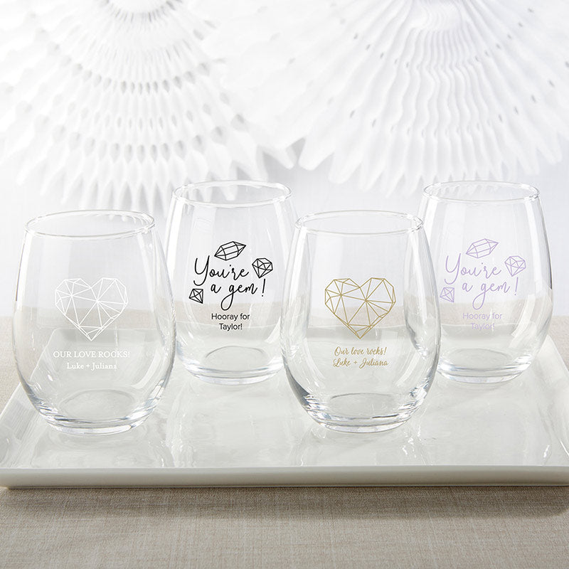 Personalized Elements 15 oz. Stemless Wine Glass