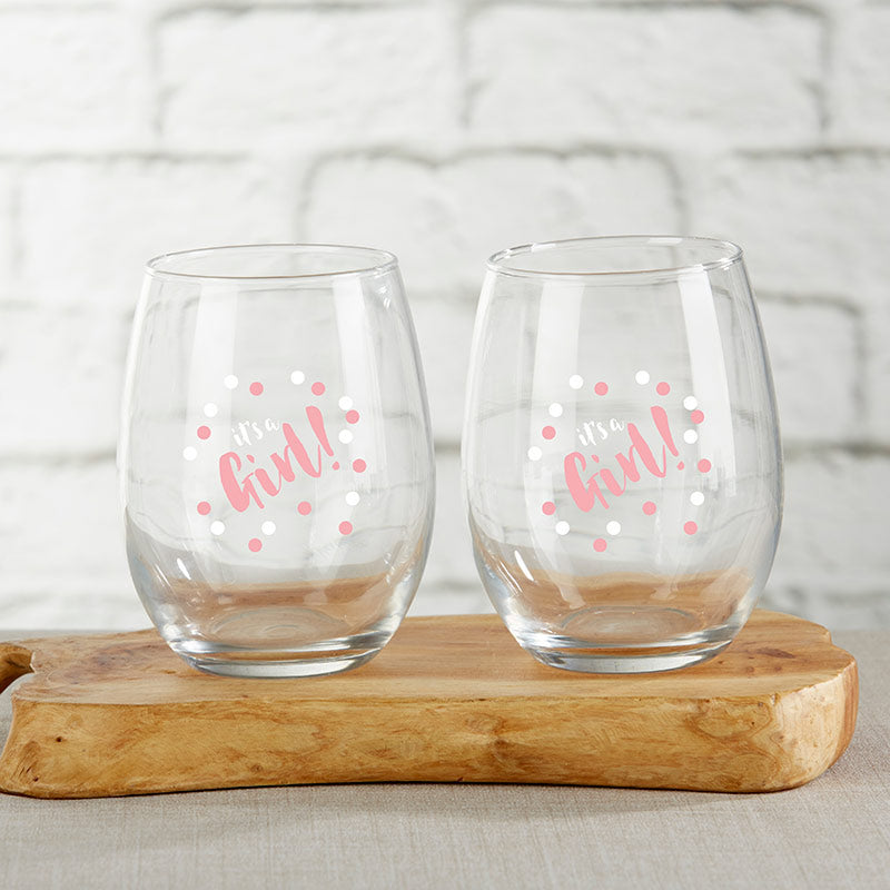 It's a Girl 15 oz. Stemless Wine Glass (Set of 4)