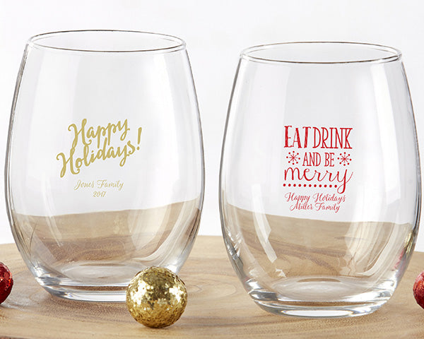 Personalized Holiday 15 oz. Stemless Wine Glass