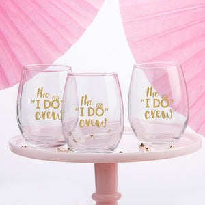 The I Do Crew 15 oz. Stemless Wine Glass (Set of 4)