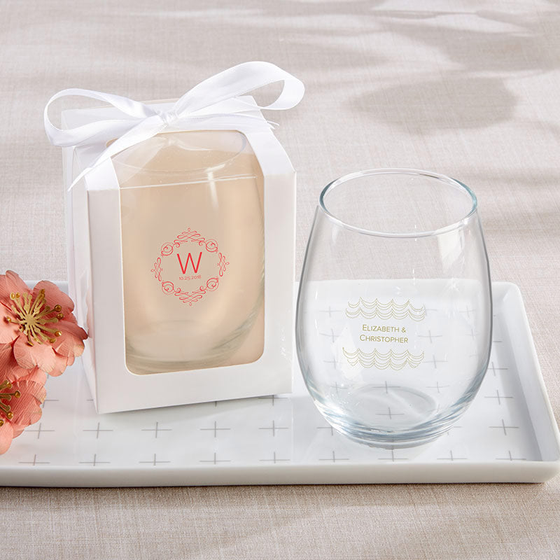 Personalized Modern Romance 15 oz. Stemless Wine Glass