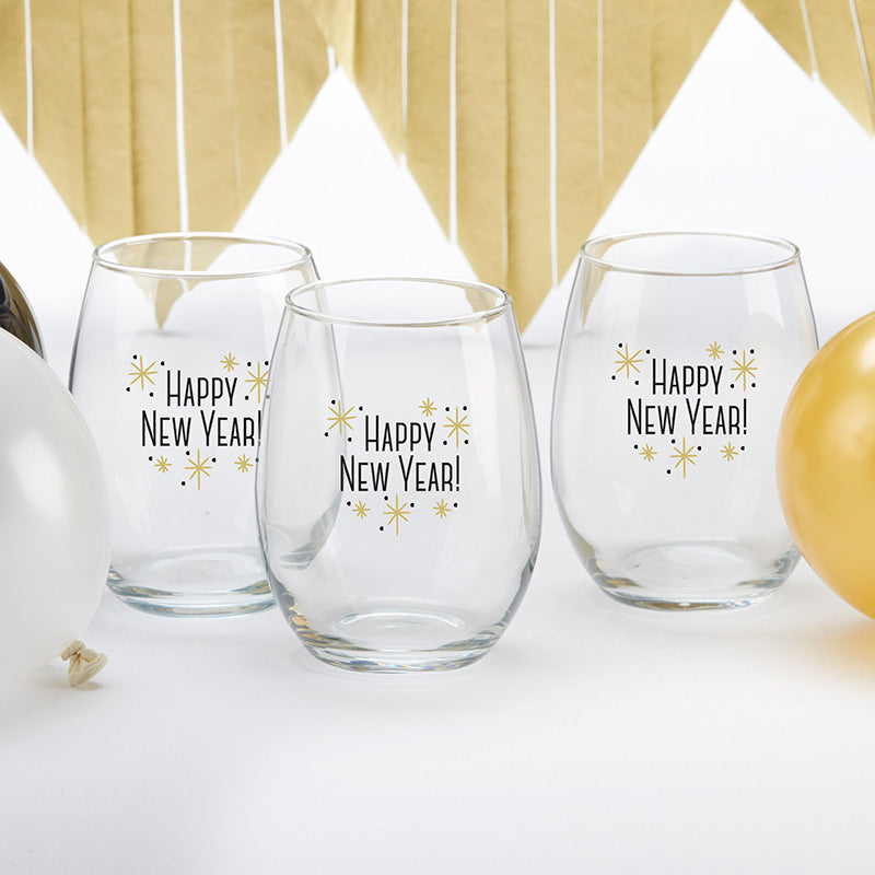 Happy New Year! 15 oz. Stemless Wine Glass (Set of 4)