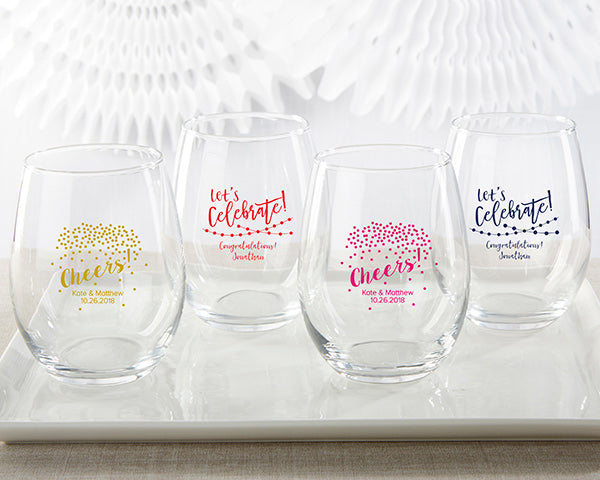 Personalized Party Time 15 oz. Stemless Wine Glass
