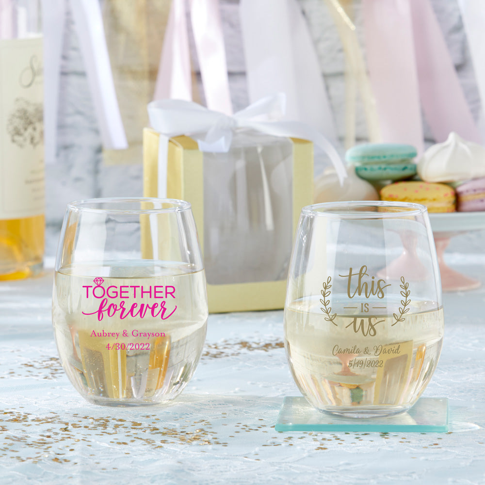 Personalized Wedding 15 oz. Stemless Wine Glass