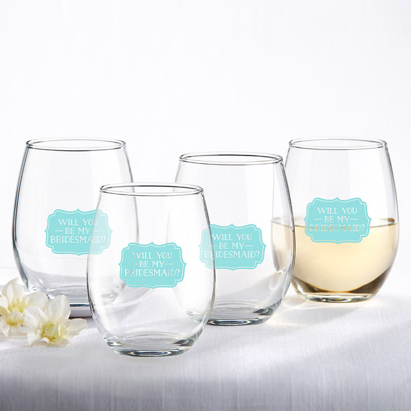 Will You Be My Bridesmaid Something Blue 15 oz. Stemless Wine Glass (Set of 4)