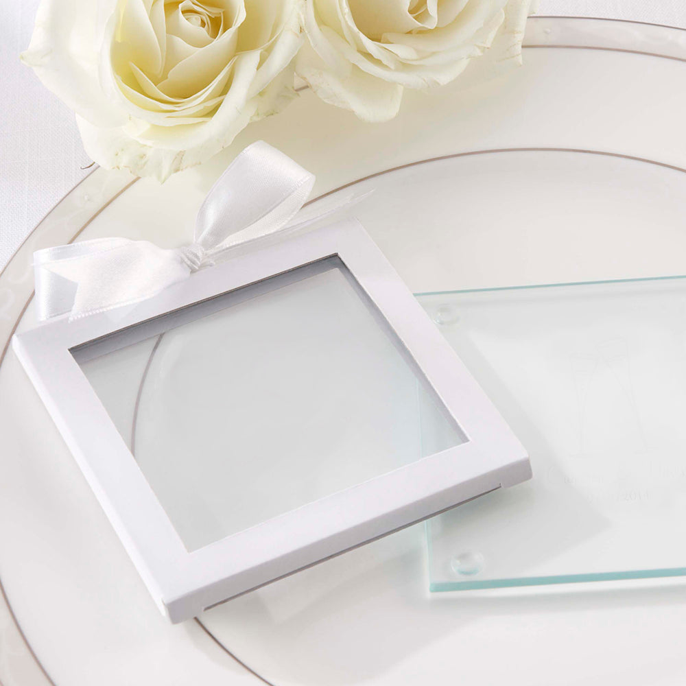 White Glass Coaster Gift Sleeve with Ribbon (Set of 12)