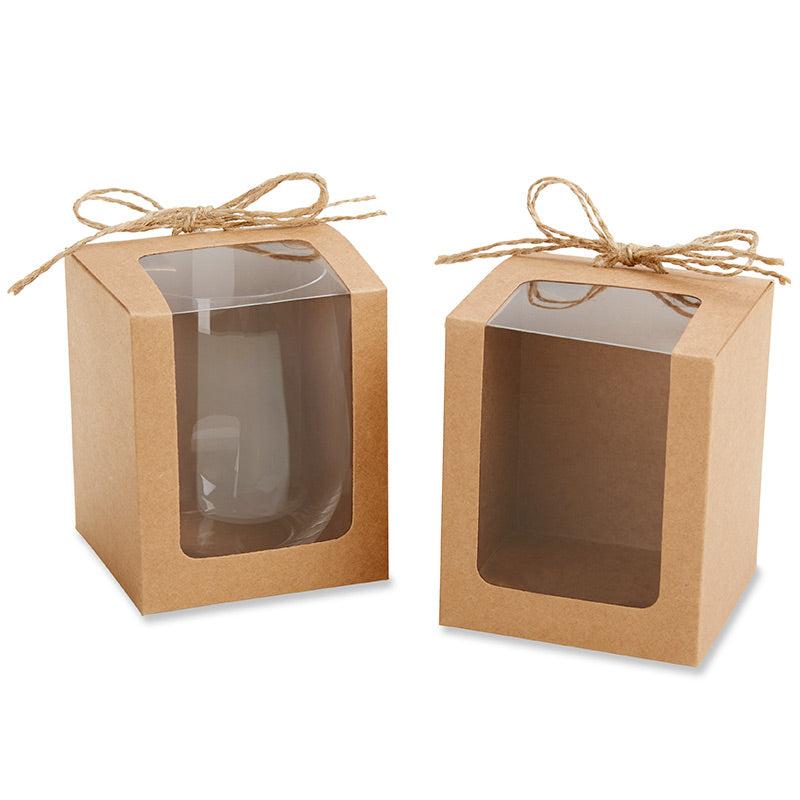 Kraft 9 oz. Glassware Gift Box with Twine (Set of 12)