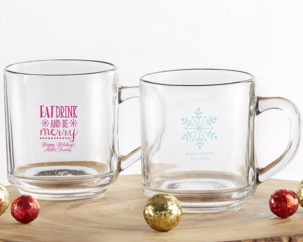 Personalized Holiday 10 oz. Glass Coffee Mug
