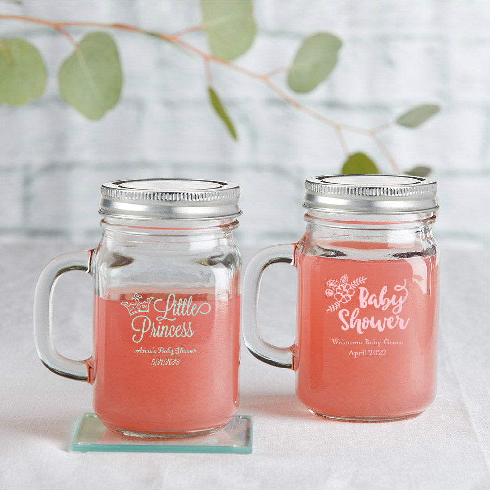 Load image into Gallery viewer, Personalized Baby Shower 16 oz. Mason Jar Mug