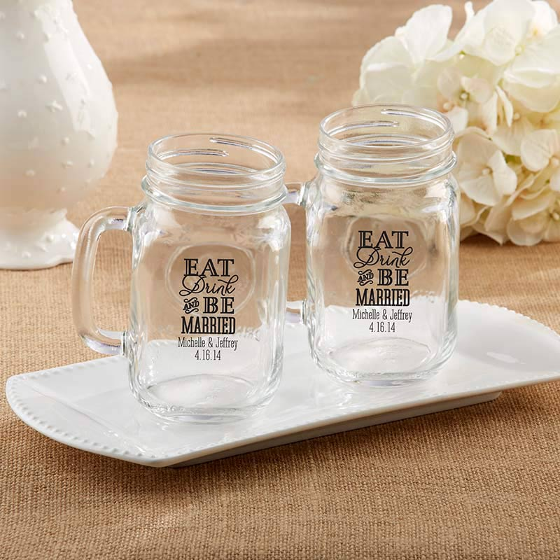 Personalized Eat, Drink & Be Married 16 oz. Mason Jar Mug