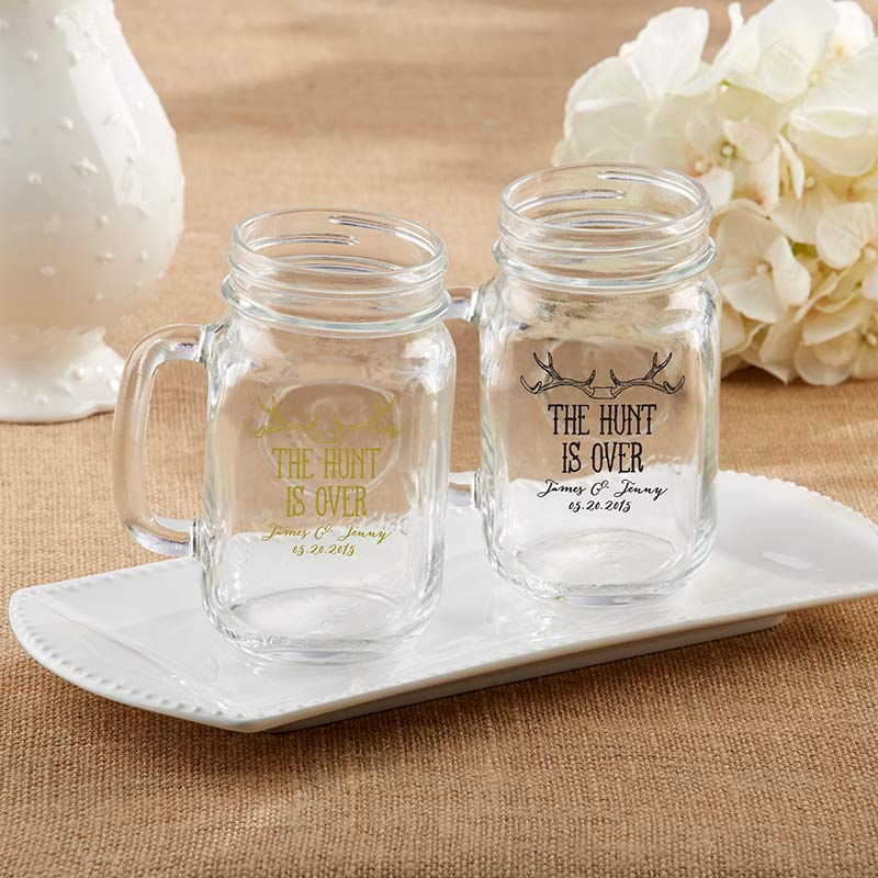Personalized The Hunt Is Over 16 oz. Mason Jar Mug