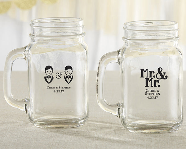 Personalized Mr. and Mr. 16 oz. Mason Jar Mug