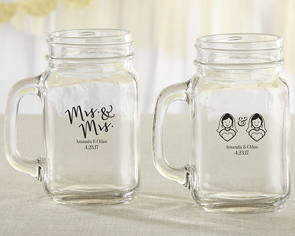 Personalized Mrs. & Mrs. 16 oz. Mason Jar Mug