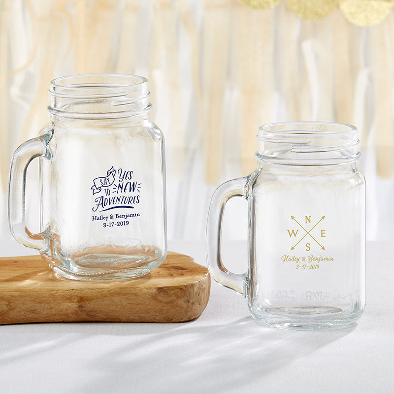 Personalized Travel & Adventure 16 oz. Mason Jar Mug
