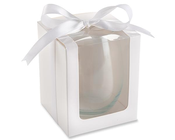 White 15 oz. Stemless Wine Glass Gift Box with Ribbon (Set of 12)