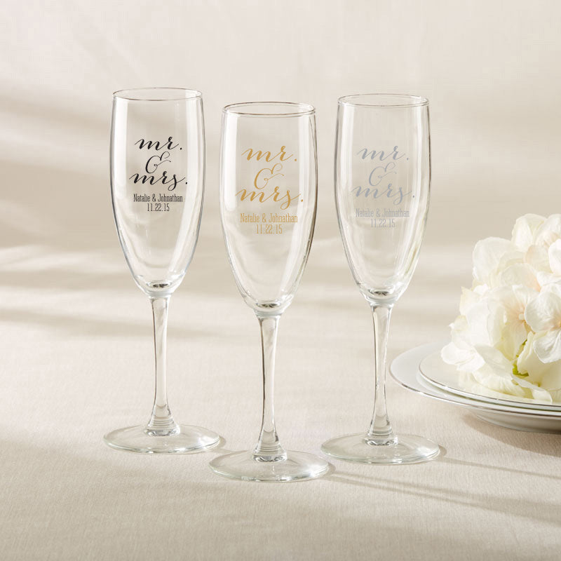 Personalized Mr. & Mrs. Champagne Flute