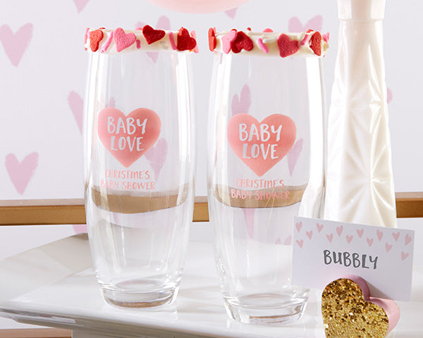Personalized Baby Love Stemless Champagne Glass