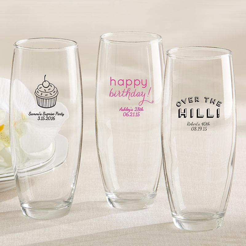 Personalized Birthday 9 oz. Stemless Champagne Glass